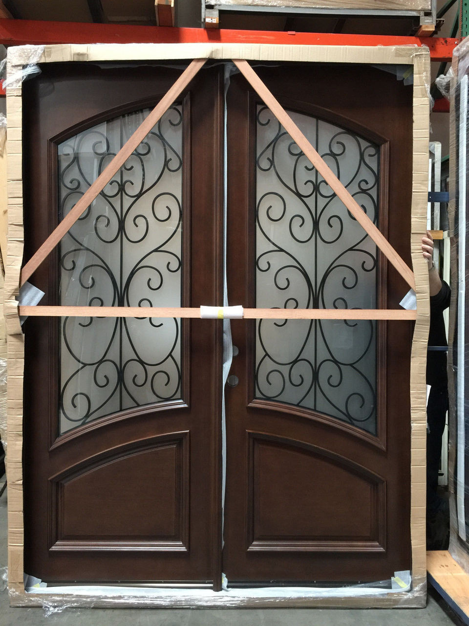 Incredible 6 0 X 8 0 Mahogany Amp Iron Double Door W Frosted Glass Door Handles Collection Olytizonderlifede