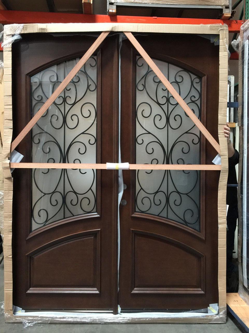 6 0 X 8 0 Mahogany Iron Double Door W Frosted Glass Solid Wood Entry Door Discount Doors Center