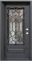 "42"" x 6/8 Single Wrought Iron Door w/ Operable Glass Panel"