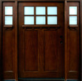 6/0 x 6/8 Mahogany Door with Sidelights 6-Lite Craftsman, Solid Wood Entry Door