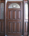 5/0 x 6/8 Cherry Door With Sidelights Half Moon, Solid Wood Entry Door