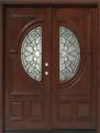 5/0 x 6/8 Mahogany Double Door Center Moon, Solid Wood Entry Door