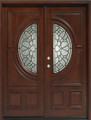 5/0 x 6/8 Mahogany Double Door Center Moon, Solid Wood Entry Door