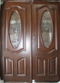 5/0 x 6/8 Mahogany Double Door Deluxe Oval, Solid Wood Entry Door