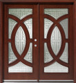 Double Mahogany Circular Deluxe GL18 6' Solid Wood Entry Door
