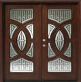 6/0 x 6/8 Mahogany Double Door Circular Deluxe GL18, Solid Wood Entry Door