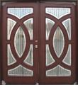 6/0 x 6/8 Mahogany Double Door Circular Deluxe GL19, Solid Wood Entry Door
