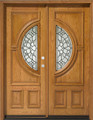 5/0 x 6/8 Red Oak Double Door Center Moon, Solid Wood Entry Door *Blemished Discount*