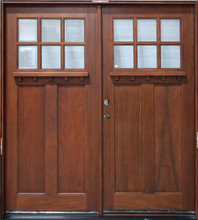 Elegant Double Cherry Craftsman 6 Lite 6u0027 Solid Wood Entry Door
