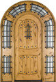 Arch Top w/ Surround Knotty Alder Rustic 2 Panel 8' Solid Wood Entry Door
