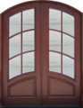 6/0 x 8/0 Mahogany Double Door  6 Lite Clear Arched, Solid Wood Entry Door