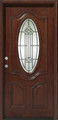 3/0 x 6/8 Mahogany Single Door Deluxe Oval, Solid Wood Entry Door