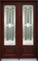 5/0 x 8/0 Mahogany Double Door Full Light, Solid Wood Entry Door