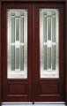 5/0 x 8/0 Mahogany Double Door Full Light, Solid Wood Entry Door