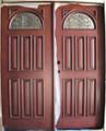"""65"""" x 6/8 Mahogany 32"""" Double Door Half Moon, Solid Wood Entry Door"""