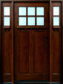 5/0 x 6/8 Mahogany Door with Sidelights 6-Lite Craftsman, Solid Wood Entry Door