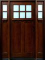5/0 x 6/8 Mahogany Door with Sidelights 6-Lite Craftsman, Solid Wood Entry Door