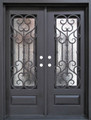 5/0 x 6/8 Wrought Iron Door w/ Operable Glass Panel