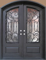6/0 x 8/0 Arch-Top Wrought Iron Door w/ Operable Glass Panel