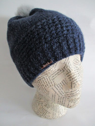 Cashmere Hat With Detachable Rabbit Fur Pom