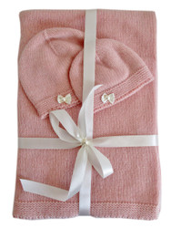 Cashmere Baby Blanket and Hats Set Little Bows