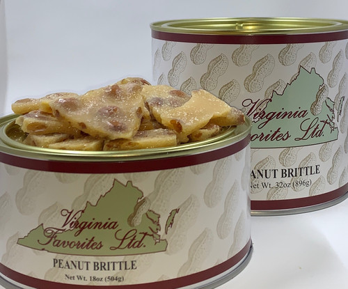 18 oz. and 32 oz. tins of Classic Peanut Brittle
