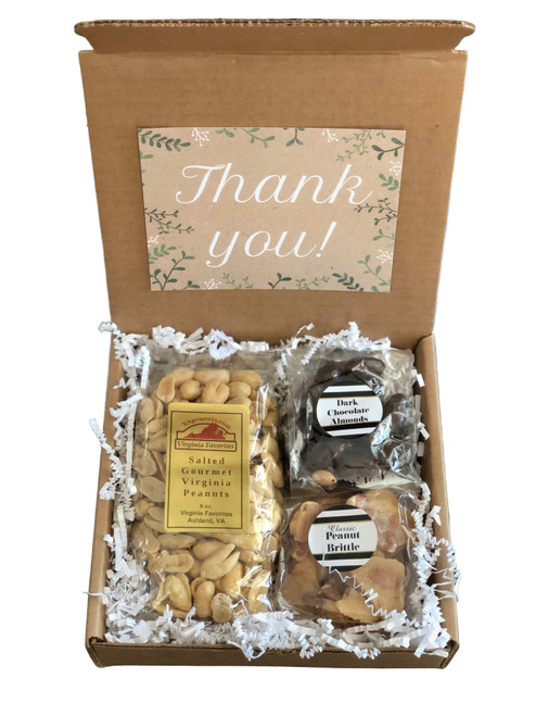 9 oz. salted gourmet Virginia peanuts 4 oz. classic peanut brittle 4 oz. dark chocolate almonds