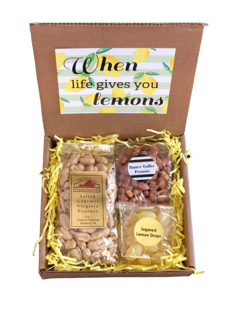 9 oz. salted gourmet Virginia peanuts 4 oz. butter toffee peanuts 4 oz. sugared lemon drops
