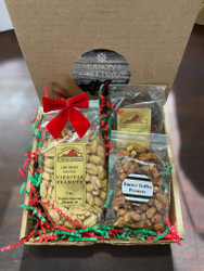 7 oz. bag of salted gourmet Virginia peanuts, 4 oz. choc. caramel peanut patties, and 4 oz. butter toffee peanuts