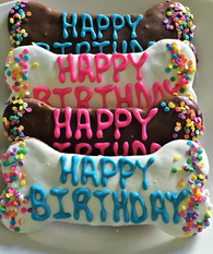 "6"" Carob & Yogurt Birthday Bones (Case of 18 treats)"