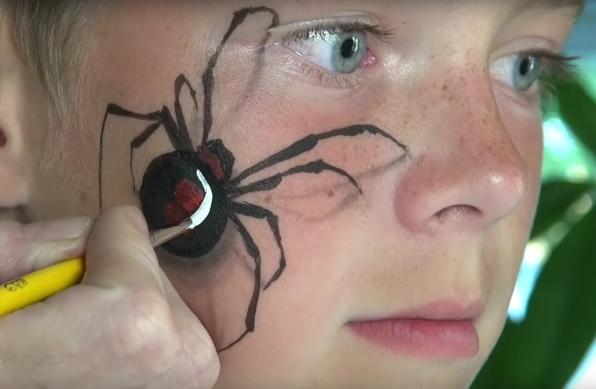 Facepaint redback spider
