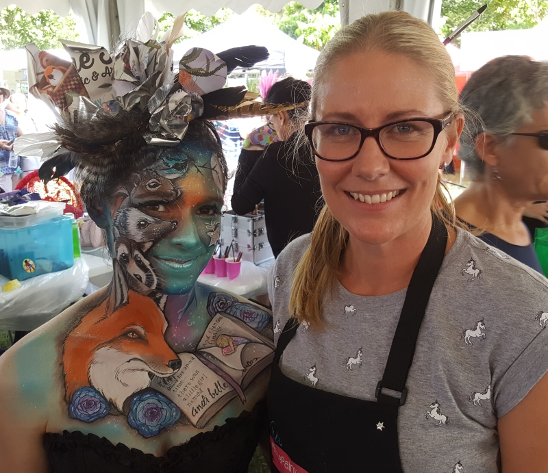Artist Kris O'Neil and winning entry face paint 2017