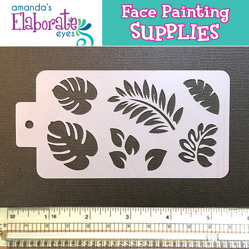 face paint stencil tropical leaves