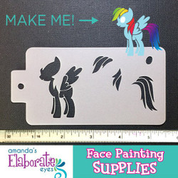 MLP rainbow dash - Reusable Face and Body Art Stencil 10074
