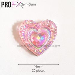 pink heart face gems
