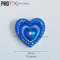 BLUE HEARTS by Pro FX Gem-Gems  (approx 20 pieces)