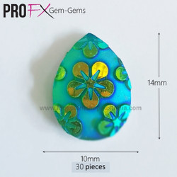 Aqua Aloha Drop Gem-Gems by Pro FX (approx 30 pieces) resin flatback gems 10x14mm