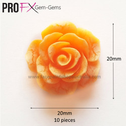 ORANGE ROSE resin flatback by Pro FX Gem-Gems  (approx 10 pieces)