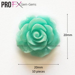 TEAL ROSE resin flatback by Pro FX Gem-Gems  (approx 10 pieces)