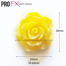 YELLOW ROSE resin flatback by Pro FX Gem-Gems  (approx 10 pieces)