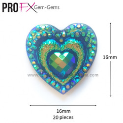 TEAL HEARTS by Pro FX Gem-Gems  (approx 20 pieces)