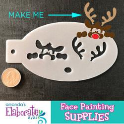 Peek-a-Boo Reindeer - Reusable Face and Body Art Stencil 20049