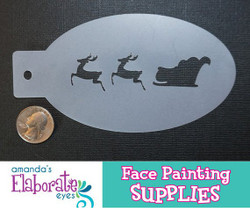 Santa's Sleigh - Reusable Face and Body Art Stencil 20030
