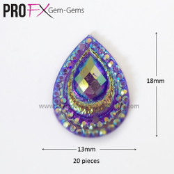Medium Purple Crystal Drop Gem-Gems by Pro FX (approx 20 pieces) resin flatback 18mm x 13mm