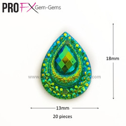 Medium Green Crystal Drop Gem-Gems by Pro FX (approx 20 pieces) resin flatback 18mm x 13mm