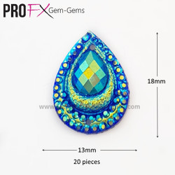 Medium Peacock- Blue Crystal Drop Gem-Gems by Pro FX (approx 20 pieces) resin flatback 18mm x 13mm