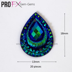 Medium Teal Crystal Drop Gem-Gems by Pro FX (approx 20 pieces) resin flatback 18mm x 13mm
