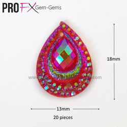 Medium Pink Crystal Drop Gem-Gems by Pro FX (approx 20 pieces) resin flatback 18mm x 13mm