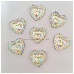CLEAR CRYSTAL HEARTS Gem-Gems (approx 20 pieces) by PRO FX