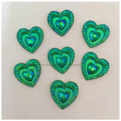 GREEN CRYSTAL HEARTS Gem-Gems (approx 20 pieces) by PRO FX